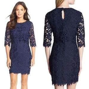 Cynthia Steffe Audrey Lace Sheath Dress in Navy